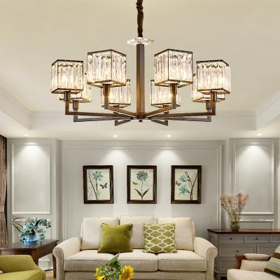 4/6/8 Lights Squared Chandelier Light Fixture Modern Crystal Hanging Light Fixture in Matte Black