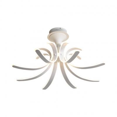 Acrylic Curved Semi Flush Light Modern Ceiling Light Fixture in White for Living Room