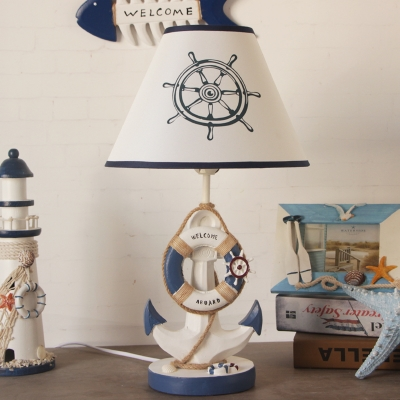 Anchor Plug in Table Lamps Fabric and Resin White and Blue Night Light with Rope for Kids Room