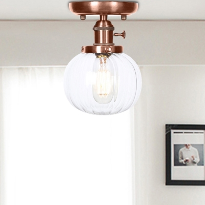 Antique Copper Ball Semi Flush Mount Aged Metal 1 Head Semi-Flush with Glass Shade for Bathroom