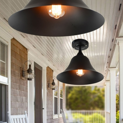 Black Bell Ceiling Lights Farmhouse Style Steel 1 Head Semi Flush Mount Light for Dining Table