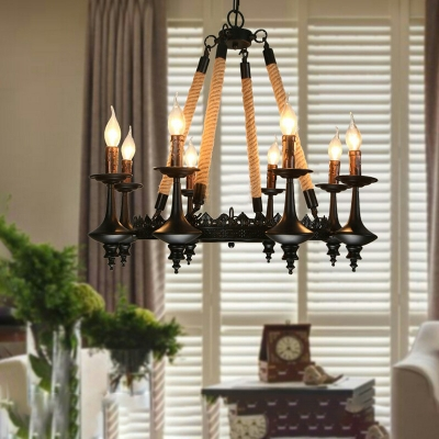 Black Candle Chandelier Lamp Country Iron and Rope Suspension