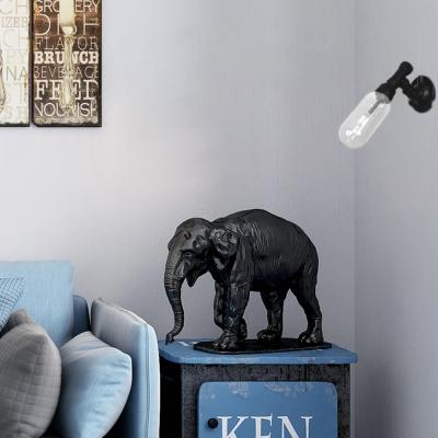 Black Sconce Lighting Fixtures Antique Steel and Glass 1-Light Sconce Lights for Corridor