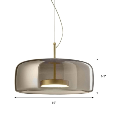 Brass Disk Pendant Light with Glass Shade Led Mid Century Modern Hanging Lamp for Dining Room