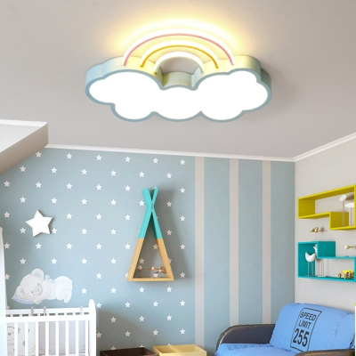 Cute Cloud Flush Light with Rainbow Nordic Style Acrylic Led Flushmount Lighting