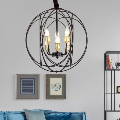 Dining Table Candle Hanging Lamp Metal 3/6 Lights Antique Black Chandelier with Orb Cage