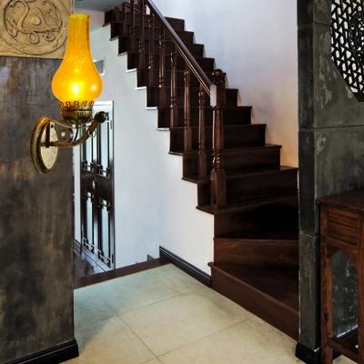 Drop Wall Mounted Light Industrial Crackle Glass 1-Light Sconce Light Fixture in Antique Brass