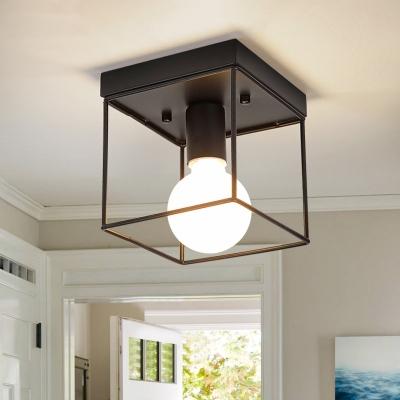 Frame Squared Lighting Fixtures Minimalist Iron 1 Light Semi Flush Ceiling Lights for Gallery, HL560301, Black;white