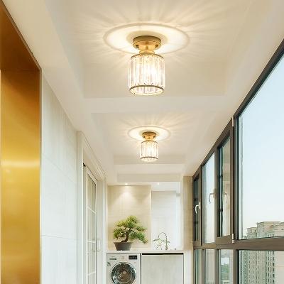 Gold/Black Cylinder Semi Flush Modern Crystal Fringe 1 Head Semi Flush Mount for Balcony