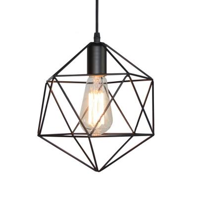 Industrial Modern Geometric Cage Pendant Light Iron 1-Light Pendant Lighting over Kitchen Island
