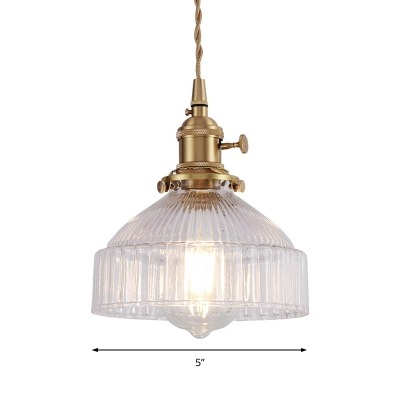 Industrial-Style Brass Hanging Lamp 1-Light Cord Pendant with Clear Ribbed Glass Shade