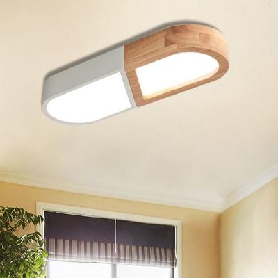 Macaron Acrylic Flush Ceiling Lights Unique Capsule Wooden Flush Mount