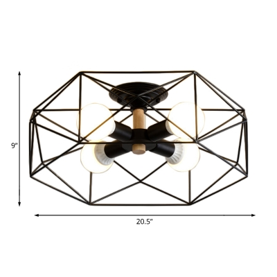 Metal Cage Semi Flush Mount Living Room 3/4/5 Light Modern Wood Ceiling Light in Black/Gold/White