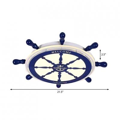 Navy Blue Rudder Flush Lighting Nautical Acrylic Integrated Led Flushmount for Boys