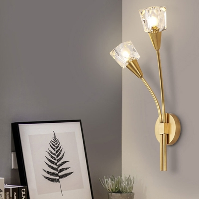 Novelty Crystal Wall Lamps Metal 2 Light Wall Light Fixture In Brass For Bedroom And Living Room Beautifulhalo Com