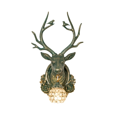 Rustic Vintage Orb Wall Lamp with Flower and Deer Clear Crystal 1 Head Wall Sconce Light
