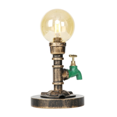 Single-Bulb Pipe Desk Lamp Rustic Style Metal and Glass Accent Table Lamp with Plug in