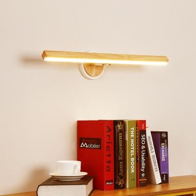Wooden Linear Vanity Lighting Modern Nordic 1 Light Led Wall Mount Light in Second Gear