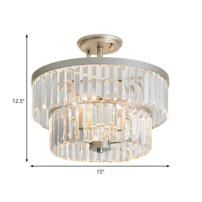 3 Lights 2 Tiers Drum Semi Flushmount Vintage Clear Crystal Semi Flush Ceiling Lamp in Silver