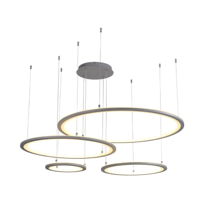 Acrylic Multi Ring Chandelier Lamp Height Adjustable Contemporary Led Living Room Lighting