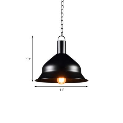 Bell Shape Chain Hung Pendant Antiqued Steel 1 Bulb Pendant Light Fixture for Restaurant