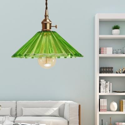 Brass Finish Cord Hung Pendant Industrial Modern Glass 1 Light Hanging Ceiling Light, HL559458, Blue;green;orange;gray