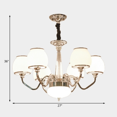 Chrome Chandelier Lighting with White Glass Shade Modernism Pendant Light for Lving Room