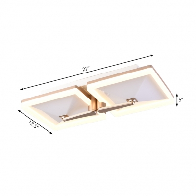 Contemporary Champagne Gold Flush Lighting with Square Shade 2/4/6 Lights Metal Ceiling Light Fixture