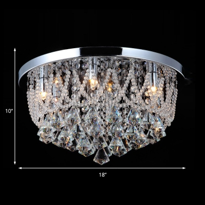 Crystal Beaded Lighting Fixture Contemporary Metal Ceiling Light Fixture in Chrome for Indoor
