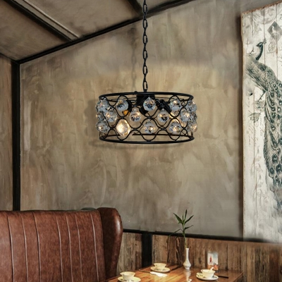 Crystal Drum Pendant Light Fixture Contemporary Metal 3 Heads Hanging