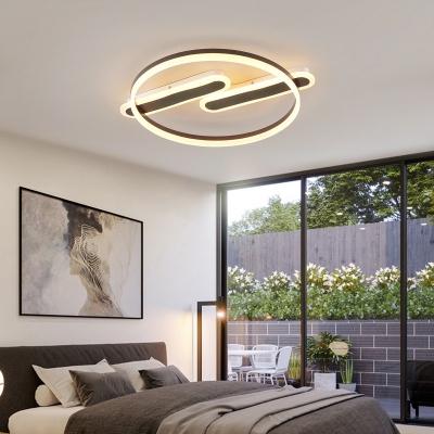 Ellipse Living Room Semi-Flush Mount Metal LED Contemporary Ceiling light in Black