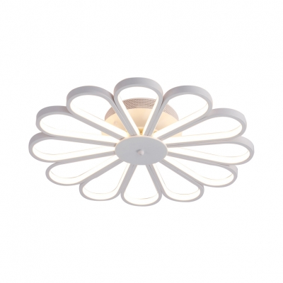 Flower Living Room Semi Flush Metal Contemporary Ceiling Light Fixture in White