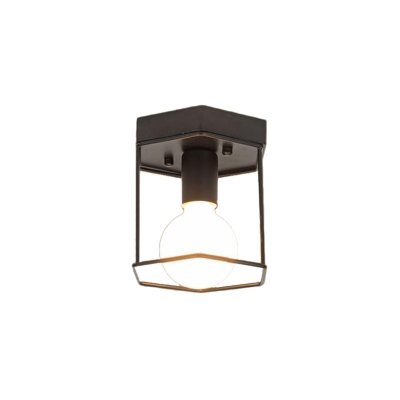 Geometric Cage Semi-Flush Mount Contemporary Metal Single Light Semi Flush Mount Light for Foyer