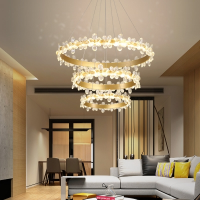 Gold Round Pendant Light With Clear