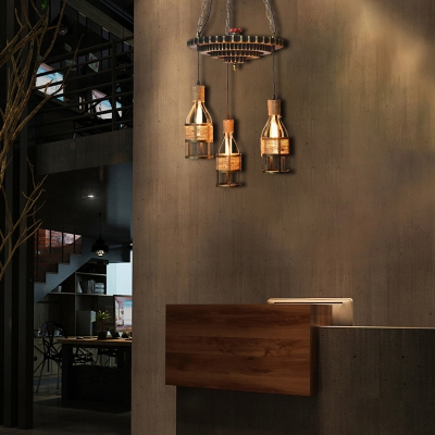 Hand Woven Rope Hanging Pendant Lights Rustic Iron 3-Light Caged Hanging Lamps for Living Room