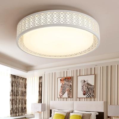 Hollow Design Drum Shade Living Room Flush Mount Light Acrylic Led
