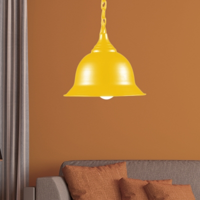 Industrial Retro Bell Pendant Light Fixture Iron 1-Light Chain Hung Pendant for Coffee Shop