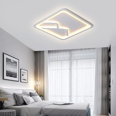 Living Room Square/Rectangle Mountain and Water Design Ceiling Light Modern White/Gray Flush Mount