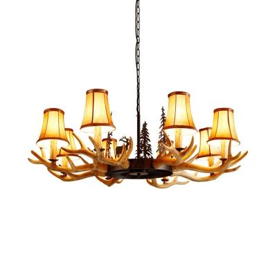 Loft Bell Chandelier Light with Fabric Shade and Resin Antler 8 Light Living Room Pendant Light