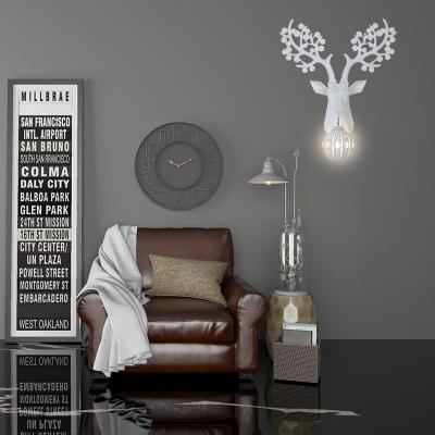 Metallic Deer Wall Light Post Modern 1 Light White Wall Mounted Light with Globe Shade