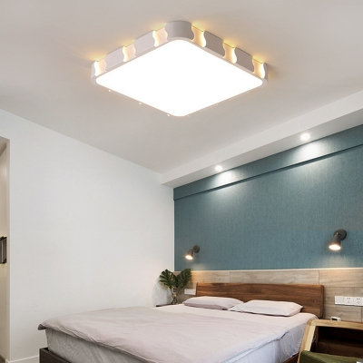 Metallic Flush Mount Ceiling Light with Acrylic Lampshade Modern White Led 1 Light Flush Light
