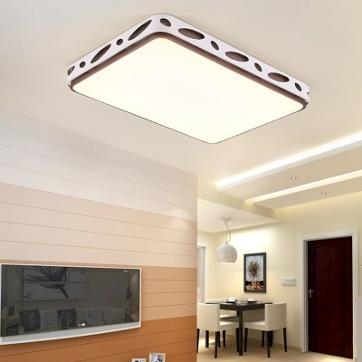 Metallic Hollow Rectangle Square Flush Mount Light Led Modern Simple Ceiling Lighting In Brown Beautifulhalo Com