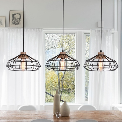 Modern Caged Pendant Lamps Iron Single-Bulb Pendant Ceiling Lights with Wood in Black for Dining Room, HL559210
