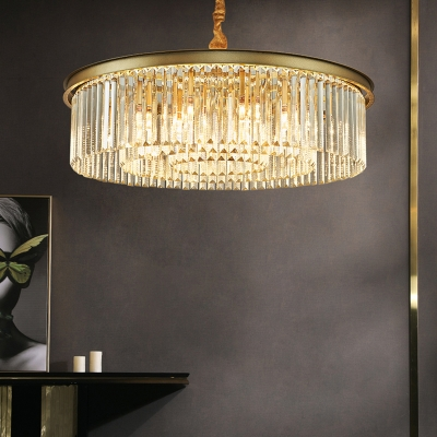 Multi-Tier Drum Hanging Fixture Modern Crystal Fringe 12 Lights Pendant Light Fixture for Dining