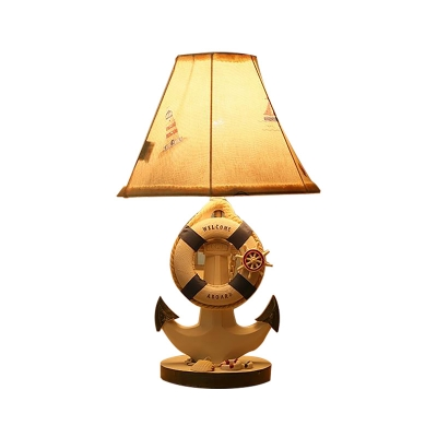 Pyramid Table Lamp Mediterranean Resin and Fabric 1 Light Accent Table Lamp for Bedside