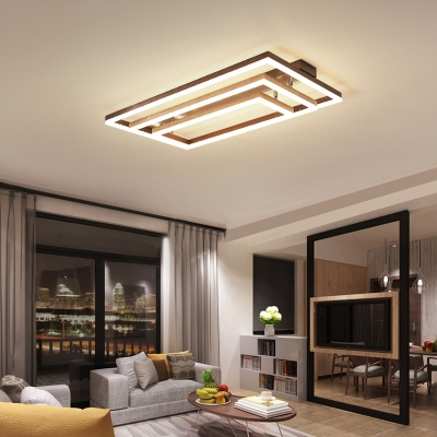 Rectangular Bedroom Semi Flush Mount Metal 3 4 5 Light Modern Ceiling Light In Coffee Beautifulhalo Com