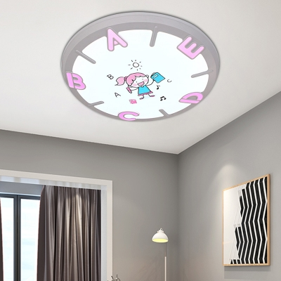 Round 1 Light Flush Light Kids Room Iron and Acrylic Flush Mount Light Fixtures with Letters