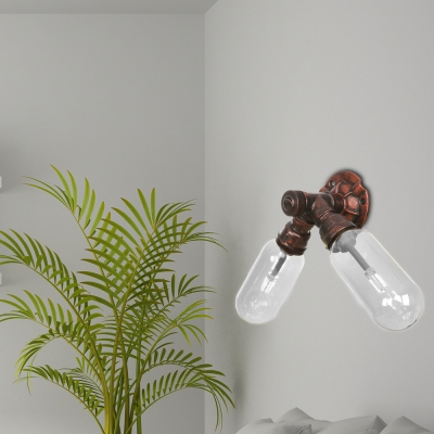 Rust Sconce Lighting Fixtures Antique Glass and Steel 2-Light Pipe Sconce Lights for Foyer