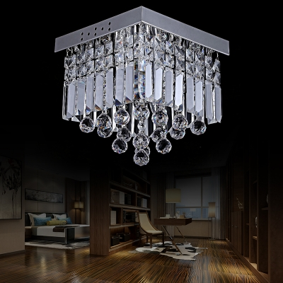 Silver Squared Ceiling Light Fixtures Modern Crystal Ball Ceiling Lights for Bedroom and Corridor