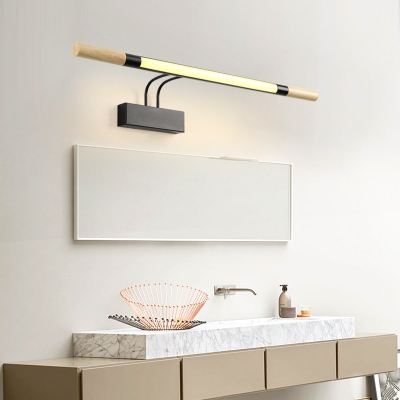 Slim Tube Wall Mount Light with Swing Arm Modern Nordic Metal and Wood Led Vanity Light